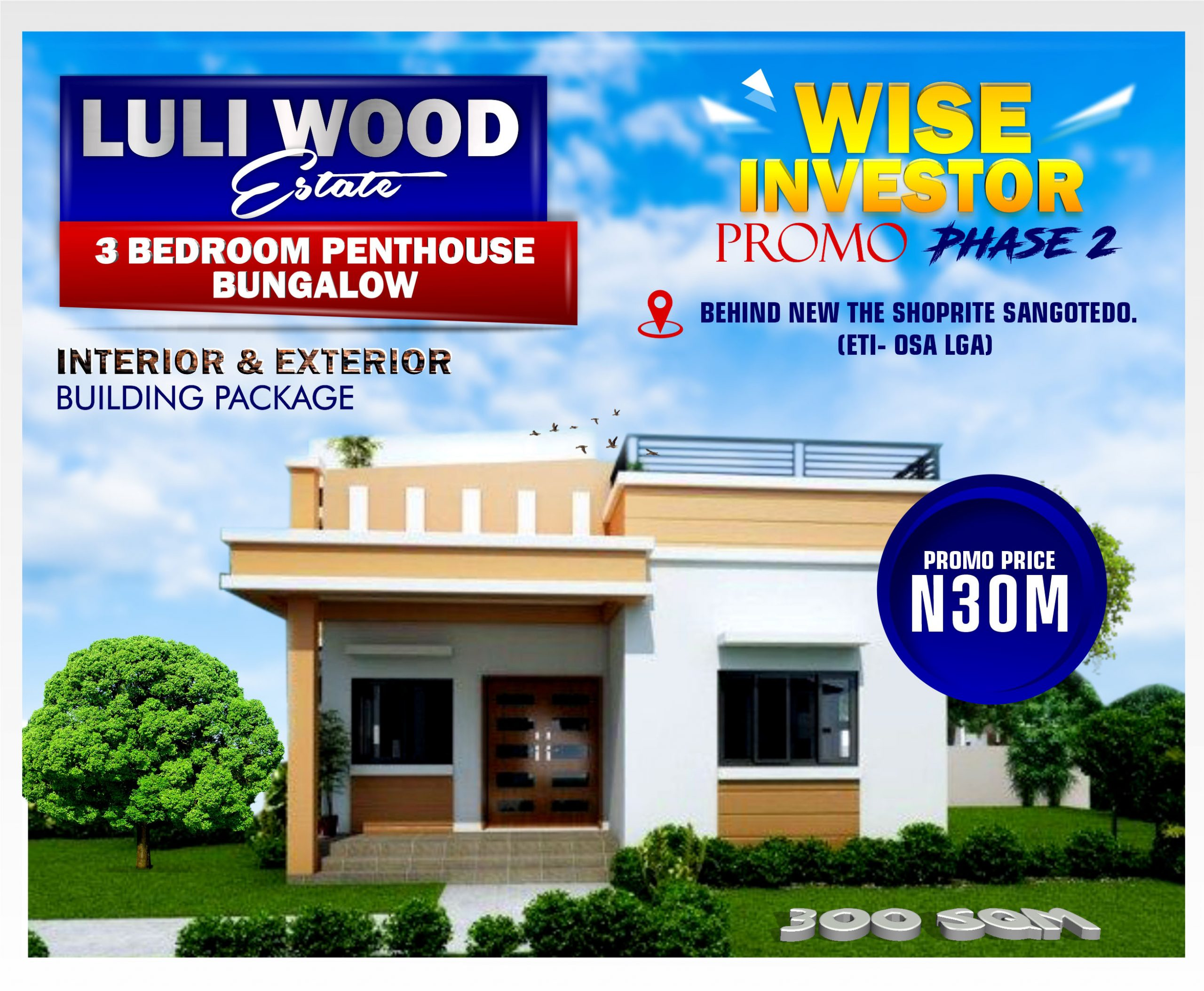 3 BEDROOM INTERIOR AND EXTERIOR 30M